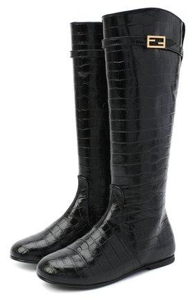 Детские кожаные сапоги FENDI черного цвета, арт. JFR311/TC3/27-31 | Фото 1