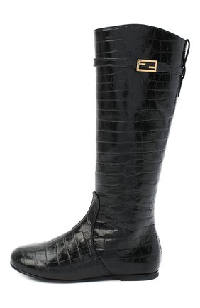 Детские кожаные сапоги FENDI черного цвета, арт. JFR311/TC3/27-31 | Фото 2