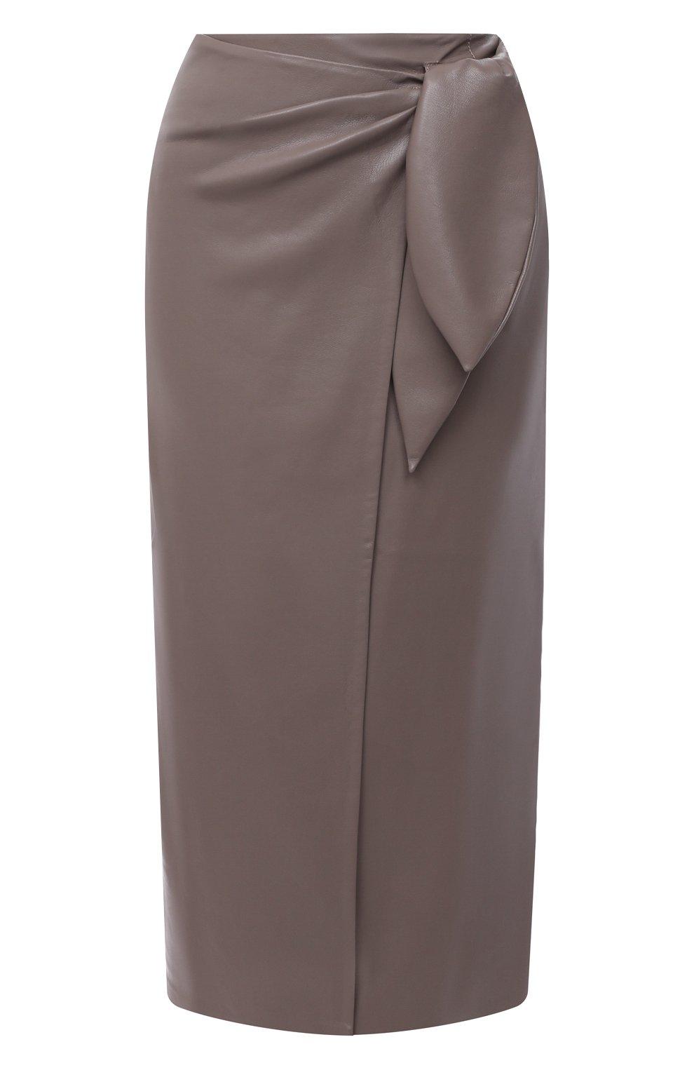 Женская юбка из экокожи NANUSHKA серого цвета, арт. AMAS_CLAY_VEGAN LEATHER | Фото 1