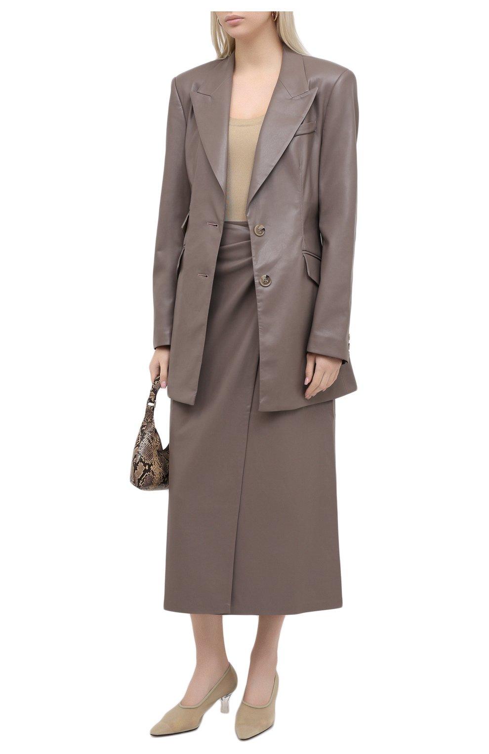 Женская юбка из экокожи NANUSHKA серого цвета, арт. AMAS_CLAY_VEGAN LEATHER | Фото 2