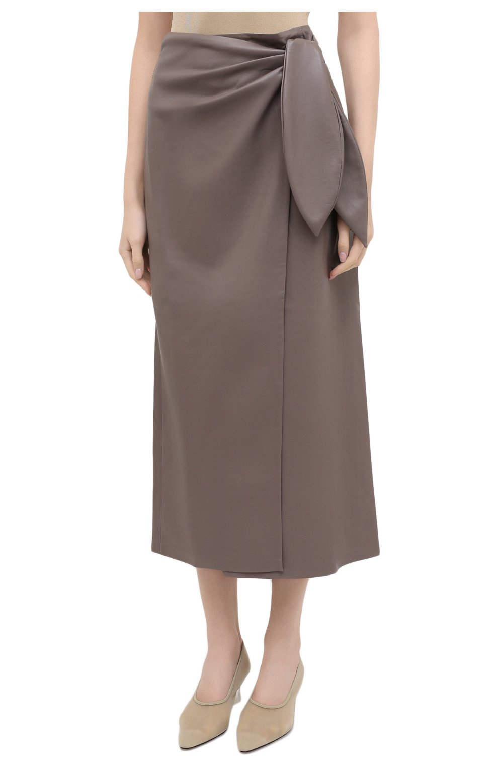 Женская юбка из экокожи NANUSHKA серого цвета, арт. AMAS_CLAY_VEGAN LEATHER | Фото 3