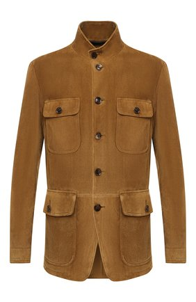 Мужская замшевая куртка TOM FORD темно-бежевого цвета, арт. BV417/TFL651 | Фото 1 (Материал подклада: Купро; Рукава: Длинные; Мужское Кросс-КТ: Верхняя одежда, Кожа и замша, Куртка-верхняя одежда; Стили: Кэжуэл; Кросс-КТ: Куртка; Длина (верхняя одежда): До середины бедра; Материал внешний: Замша)