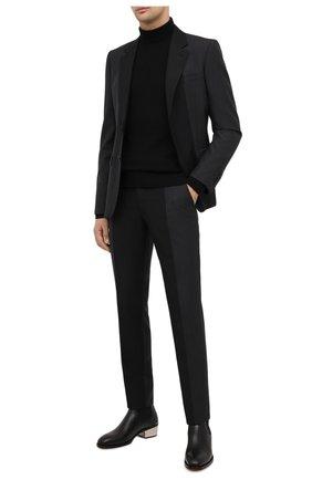 Мужские шерстяные брюки ALEXANDER MCQUEEN темно-серого цвета, арт. 619179/QPU12 | Фото 2 (Материал подклада: Купро; Длина (брюки, джинсы): Стандартные; Материал внешний: Шерсть; Случай: Формальный; Стили: Классический)