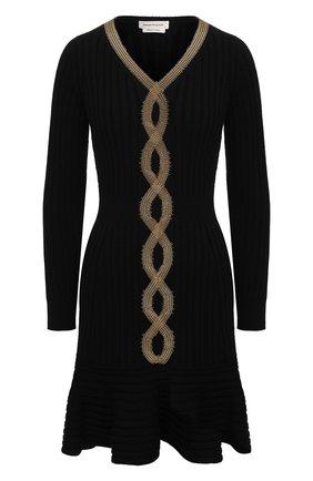 Женское шерстяное платье ALEXANDER MCQUEEN черного цвета, арт. 633674/Q1AP9 | Фото 1