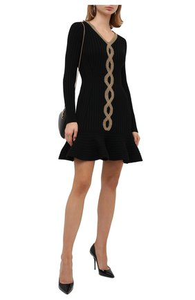 Женское шерстяное платье ALEXANDER MCQUEEN черного цвета, арт. 633674/Q1AP9 | Фото 2