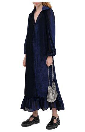 Женское платье из вискозы и шелка FENDI синего цвета, арт. FDA762 AC50   Фото 2