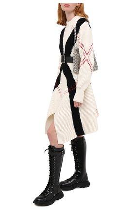 Женское шерстяное платье ALEXANDER MCQUEEN черно-белого цвета, арт. 641866/Q1ARG | Фото 2