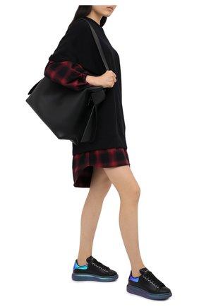 Женские кожаные кеды ALEXANDER MCQUEEN черного цвета, арт. 634139/WHYBT   Фото 2
