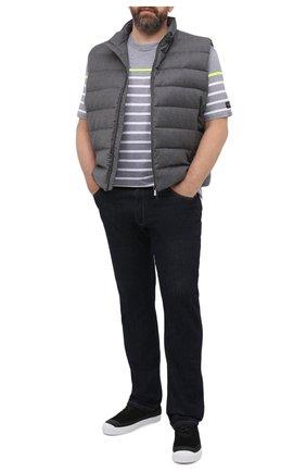 Мужская хлопковая футболка PAUL&SHARK светло-серого цвета, арт. A20P1627/HS5/3XL-6XL | Фото 2
