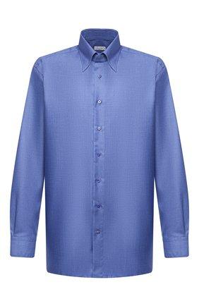 Мужская сорочка из кашемира и шелка ZILLI синего цвета, арт. MFU-00503-87060/0001/45-49 | Фото 1