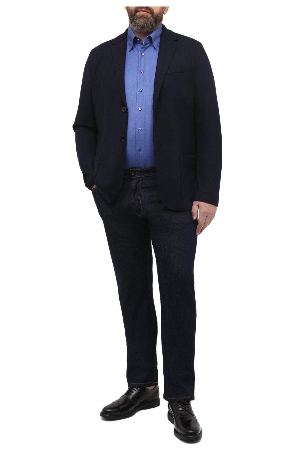 Мужская сорочка из кашемира и шелка ZILLI синего цвета, арт. MFU-00503-87060/0001/45-49 | Фото 2