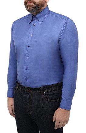 Мужская сорочка из кашемира и шелка ZILLI синего цвета, арт. MFU-00503-87060/0001/45-49 | Фото 3