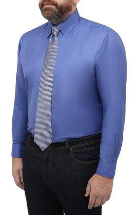 Мужская сорочка из кашемира и шелка ZILLI синего цвета, арт. MFU-00503-87060/0001/45-49 | Фото 4