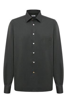 Мужская хлопковая рубашка KITON хаки цвета, арт. UMCNERH0740907/45-50 | Фото 1