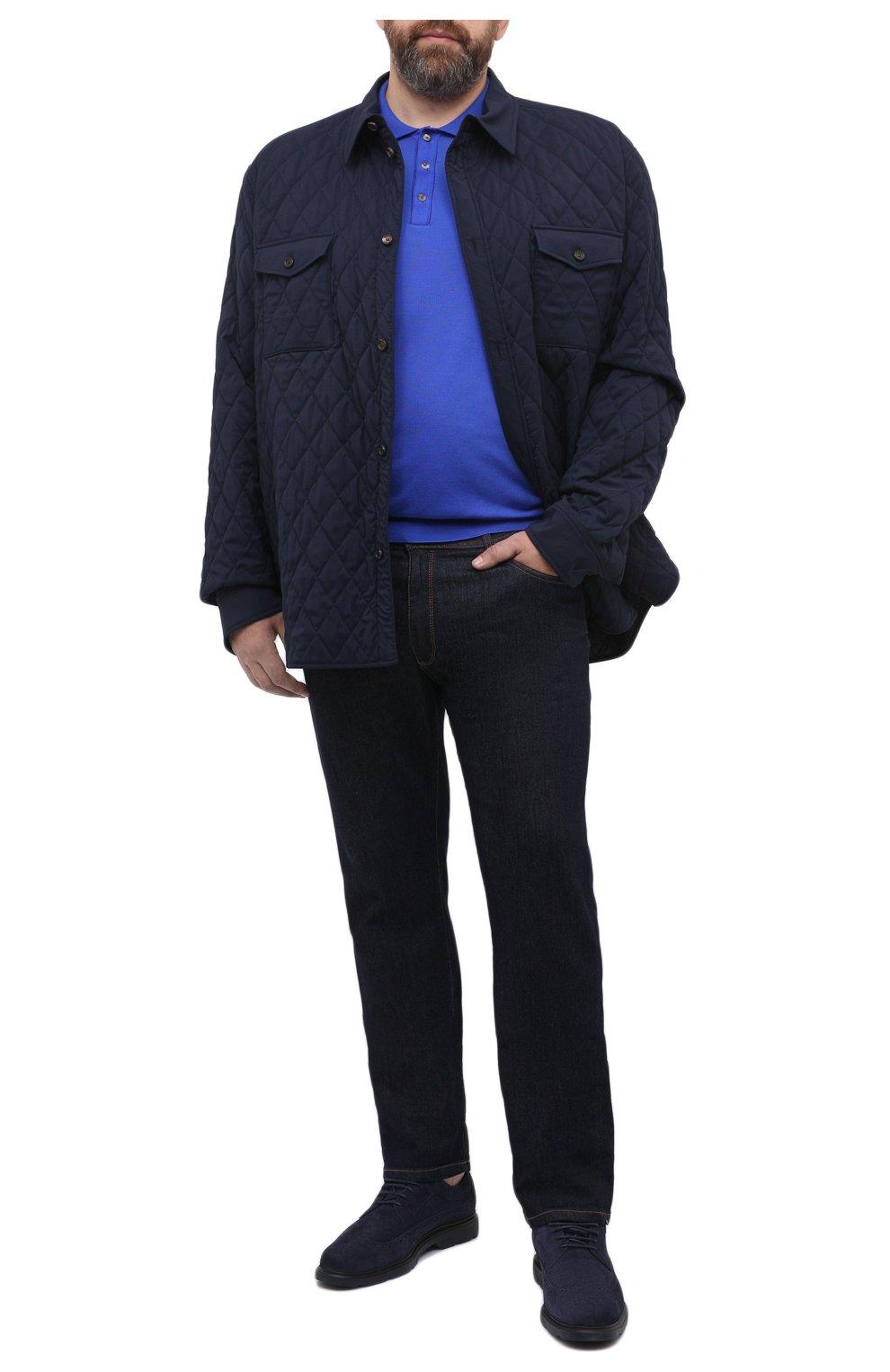 Мужское шерстяное поло SVEVO синего цвета, арт. 1377XSA20/MP13   Фото 2 (Застежка: Пуговицы; Big sizes: Big Sizes; Материал внешний: Шерсть; Рукава: Длинные; Длина (для топов): Удлиненные; Кросс-КТ: Трикотаж; Стили: Кэжуэл)