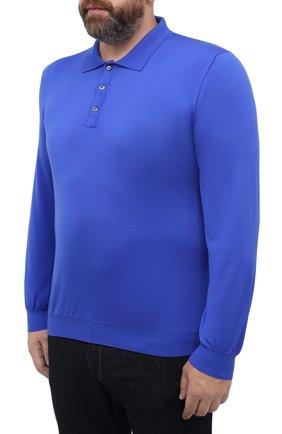 Мужское шерстяное поло SVEVO синего цвета, арт. 1377XSA20/MP13   Фото 3 (Застежка: Пуговицы; Big sizes: Big Sizes; Материал внешний: Шерсть; Рукава: Длинные; Длина (для топов): Удлиненные; Кросс-КТ: Трикотаж; Стили: Кэжуэл)