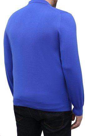 Мужское шерстяное поло SVEVO синего цвета, арт. 1377XSA20/MP13   Фото 4 (Застежка: Пуговицы; Big sizes: Big Sizes; Материал внешний: Шерсть; Рукава: Длинные; Длина (для топов): Удлиненные; Кросс-КТ: Трикотаж; Стили: Кэжуэл)