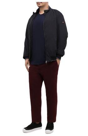 Мужской хлопковые брюки HILTL бордового цвета, арт. 72514/60-70 | Фото 2