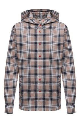 Мужская хлопковая рубашка KITON бежевого цвета, арт. UMCMARH0748711/45-50   Фото 1