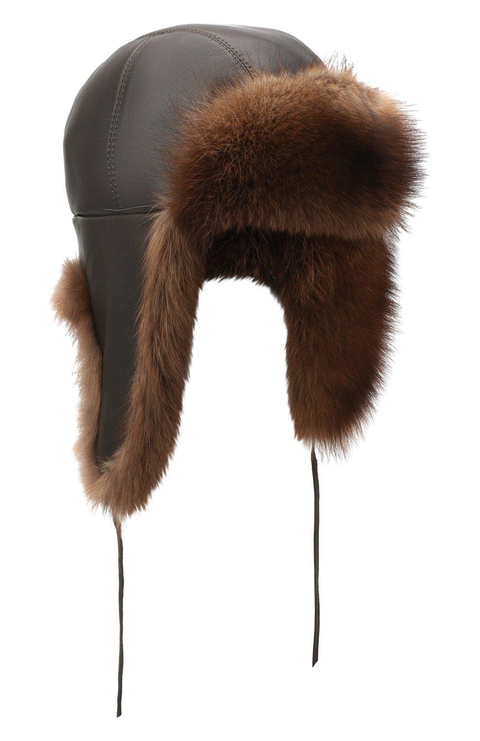 Мужская шапка-ушанка из меха фишера FURLAND коричневого цвета, арт. 0017100010002300012 | Фото 1