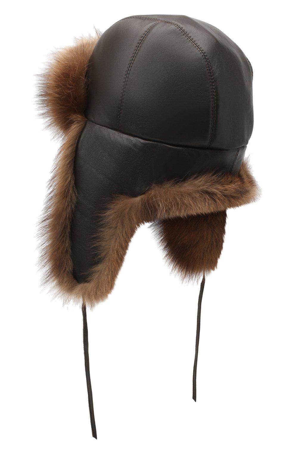 Мужская шапка-ушанка из меха фишера FURLAND коричневого цвета, арт. 0017100010002300012 | Фото 2