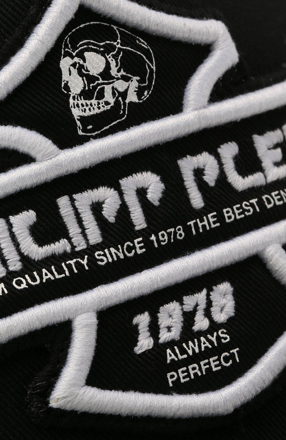Мужской хлопковая бейсболка PHILIPP PLEIN черно-белого цвета, арт. F20A UAC0039 PTE003N | Фото 3