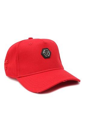 Мужской хлопковая бейсболка PHILIPP PLEIN красного цвета, арт. F20A UAC0049 PTE003N | Фото 1
