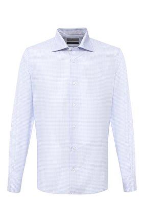 Мужская сорочка из хлопка и шелка CANALI голубого цвета, арт. XX18/GX02037   Фото 1