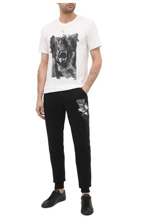Мужские хлопковые джоггеры RH45 черного цвета, арт. JP11-I | Фото 2 (Длина (брюки, джинсы): Стандартные; Материал внешний: Хлопок; Силуэт М (брюки): Джоггеры; Мужское Кросс-КТ: Брюки-трикотаж; Стили: Спорт-шик)