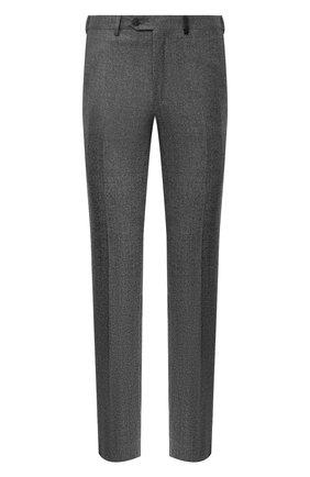 Мужские шерстяные брюки BRIONI серого цвета, арт. RPN20L/07AB4/GSTAAD | Фото 1 (Материал внешний: Шерсть; Длина (брюки, джинсы): Стандартные; Случай: Формальный; Стили: Классический; Материал подклада: Хлопок, Синтетический материал)