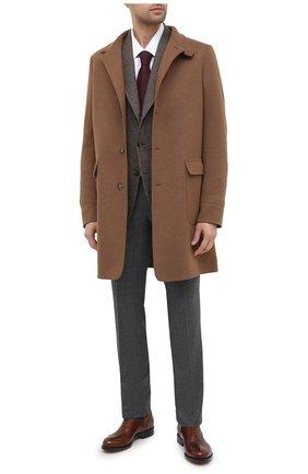 Мужские шерстяные брюки BRIONI серого цвета, арт. RPN20L/07AB4/GSTAAD | Фото 2 (Материал внешний: Шерсть; Длина (брюки, джинсы): Стандартные; Случай: Формальный; Стили: Классический; Материал подклада: Хлопок, Синтетический материал)