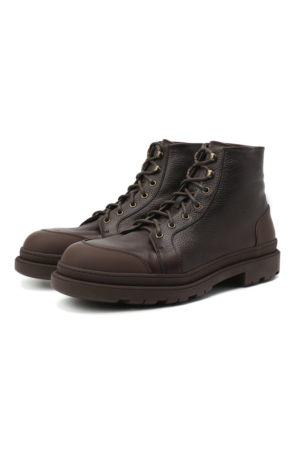 Мужские кожаные ботинки BRUNELLO CUCINELLI темно-коричневого цвета, арт. MZUDGMI886   Фото 1