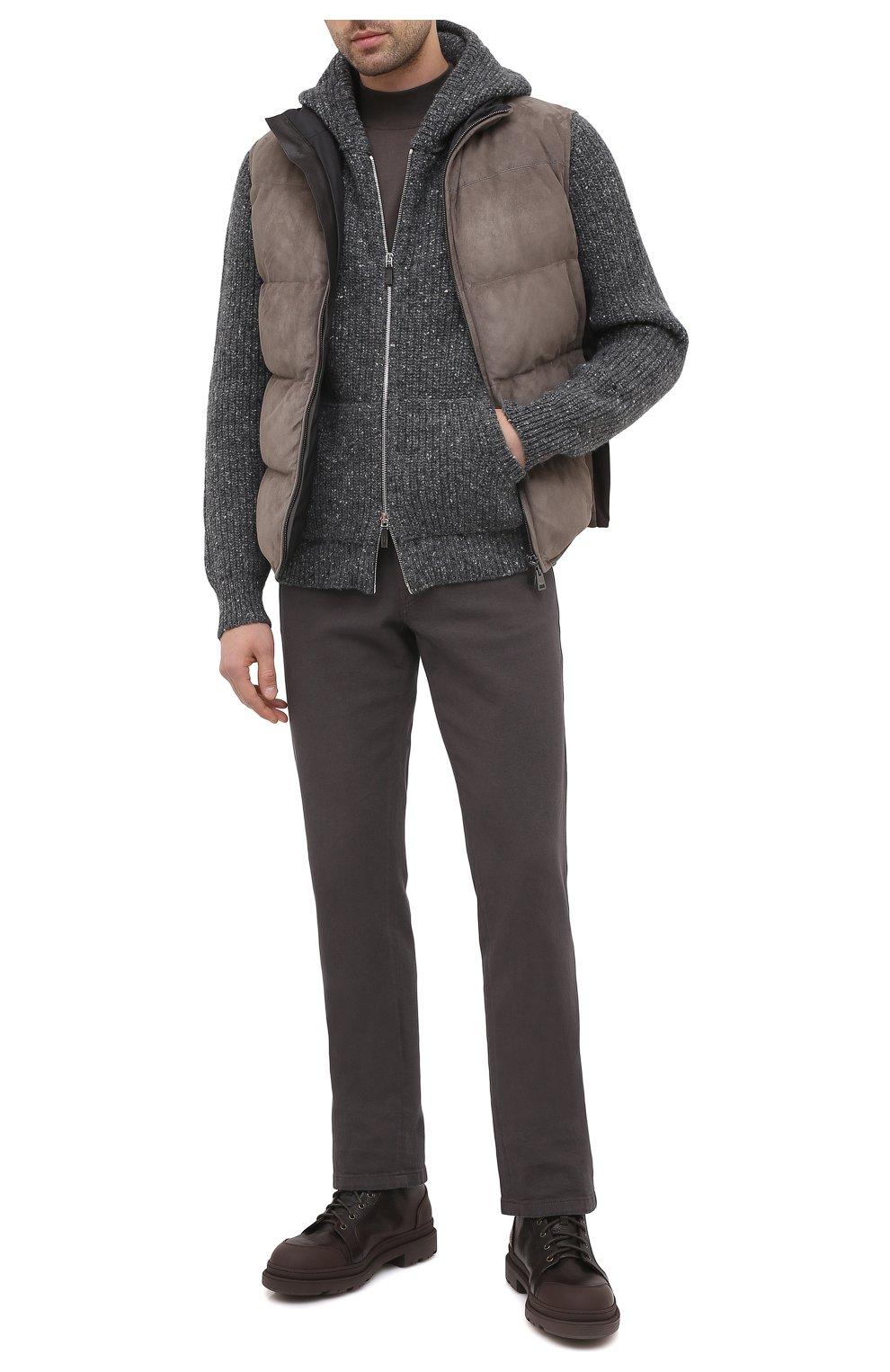 Мужские кожаные ботинки BRUNELLO CUCINELLI темно-коричневого цвета, арт. MZUDGMI886   Фото 2