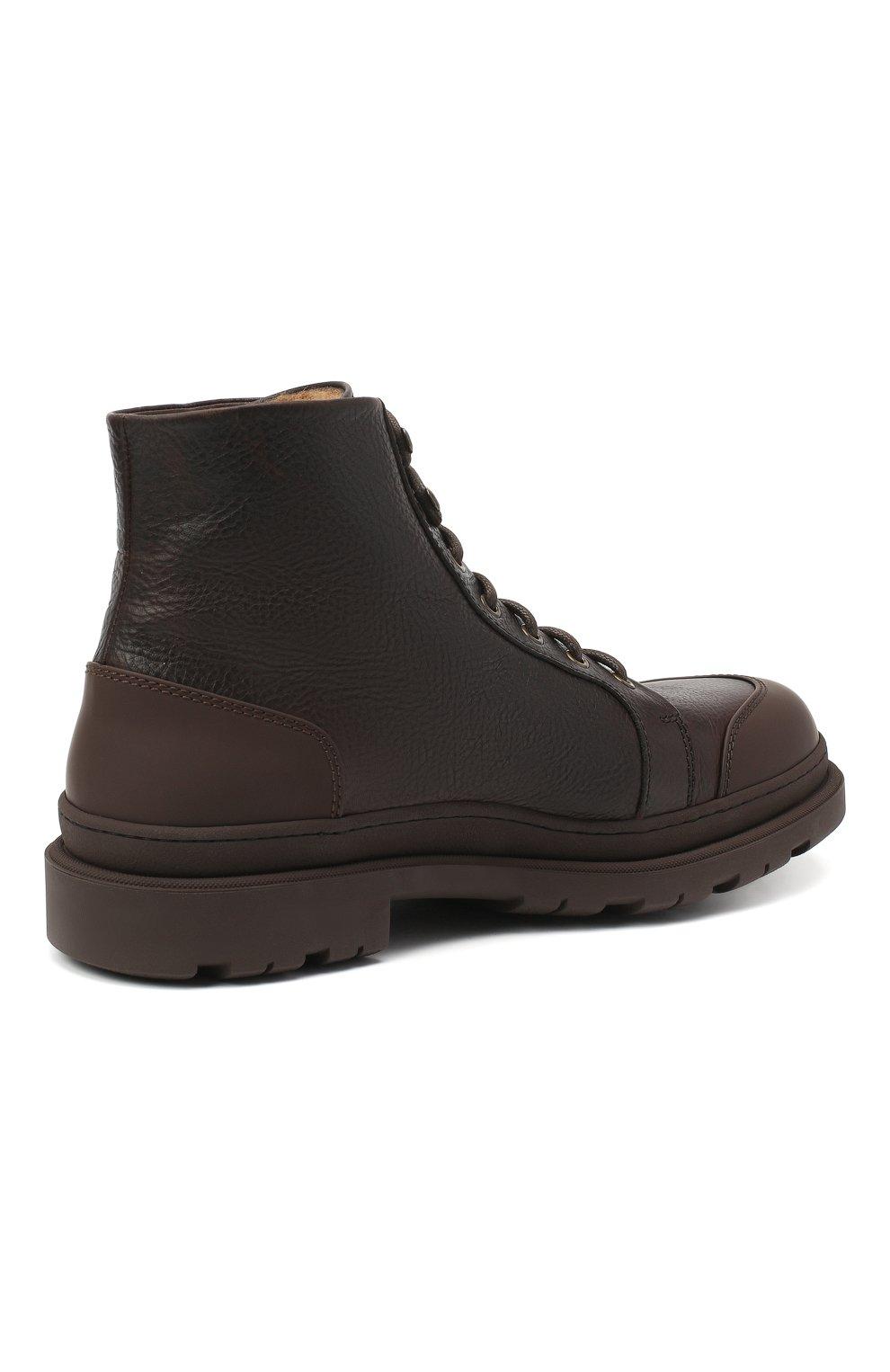 Мужские кожаные ботинки BRUNELLO CUCINELLI темно-коричневого цвета, арт. MZUDGMI886   Фото 4