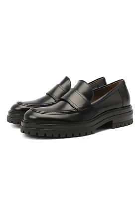 Мужские кожаные лоферы GIANVITO ROSSI черного цвета, арт. U25290.20G0M.SRANER0 | Фото 1 (Материал внутренний: Натуральная кожа; Мужское Кросс-КТ: Лоферы-обувь; Стили: Кэжуэл)