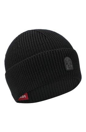 Мужская шерстяная шапка PARAJUMPERS черного цвета, арт. HA12/PLAIN BEANIE | Фото 1
