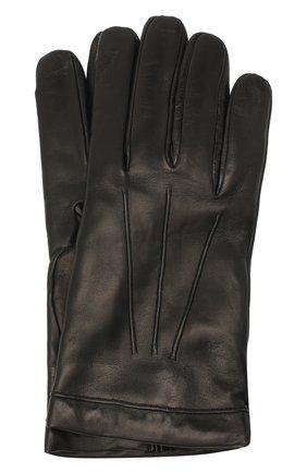 Мужские кожаные перчатки MORESCHI черного цвета, арт. SIBERIA/NAPPA | Фото 1