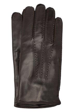 Мужские кожаные перчатки MORESCHI темно-коричневого цвета, арт. CANADA/NAPPA | Фото 1