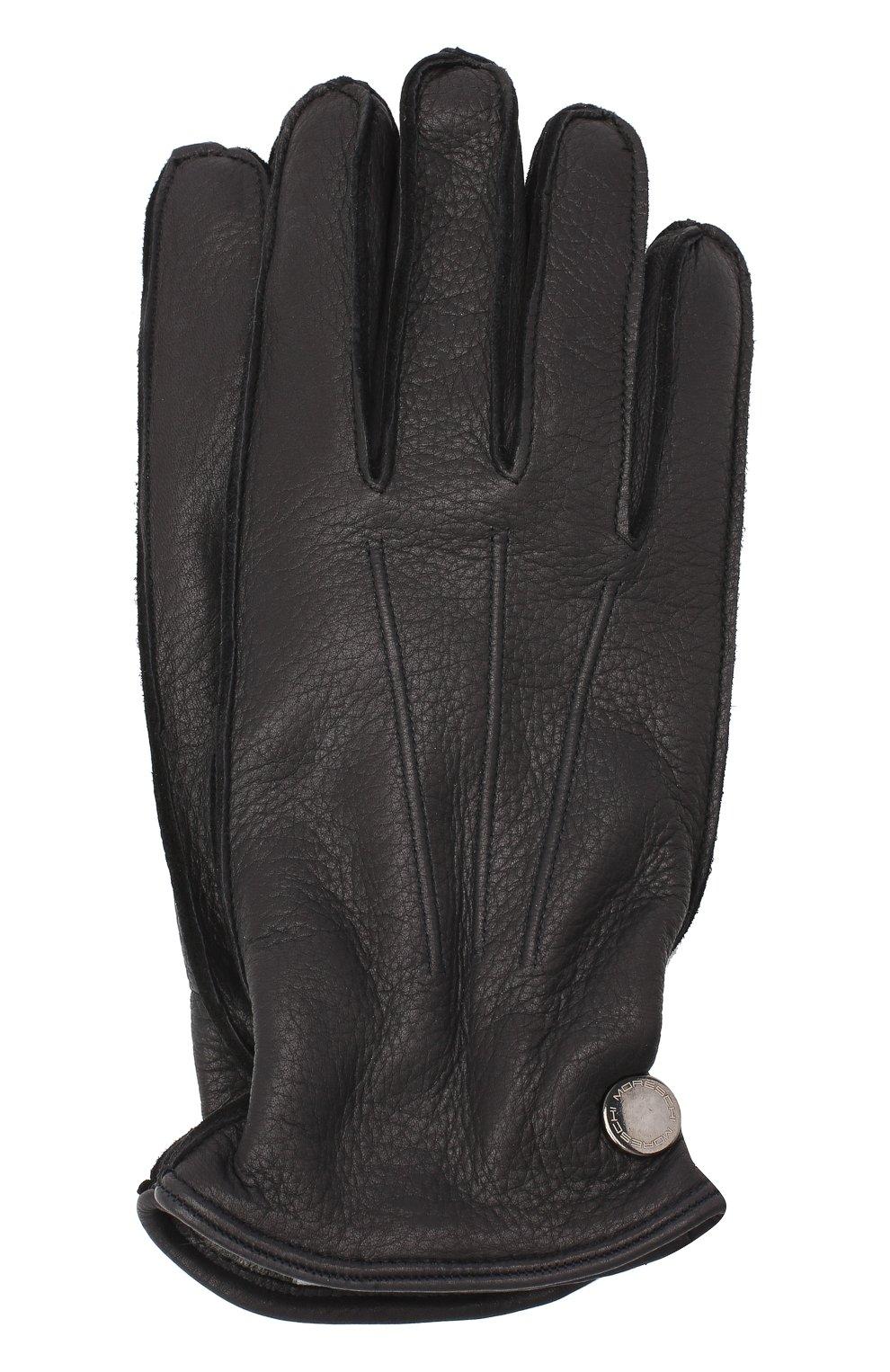Мужские кожаные перчатки MORESCHI темно-синего цвета, арт. 062U/CERV0   Фото 1