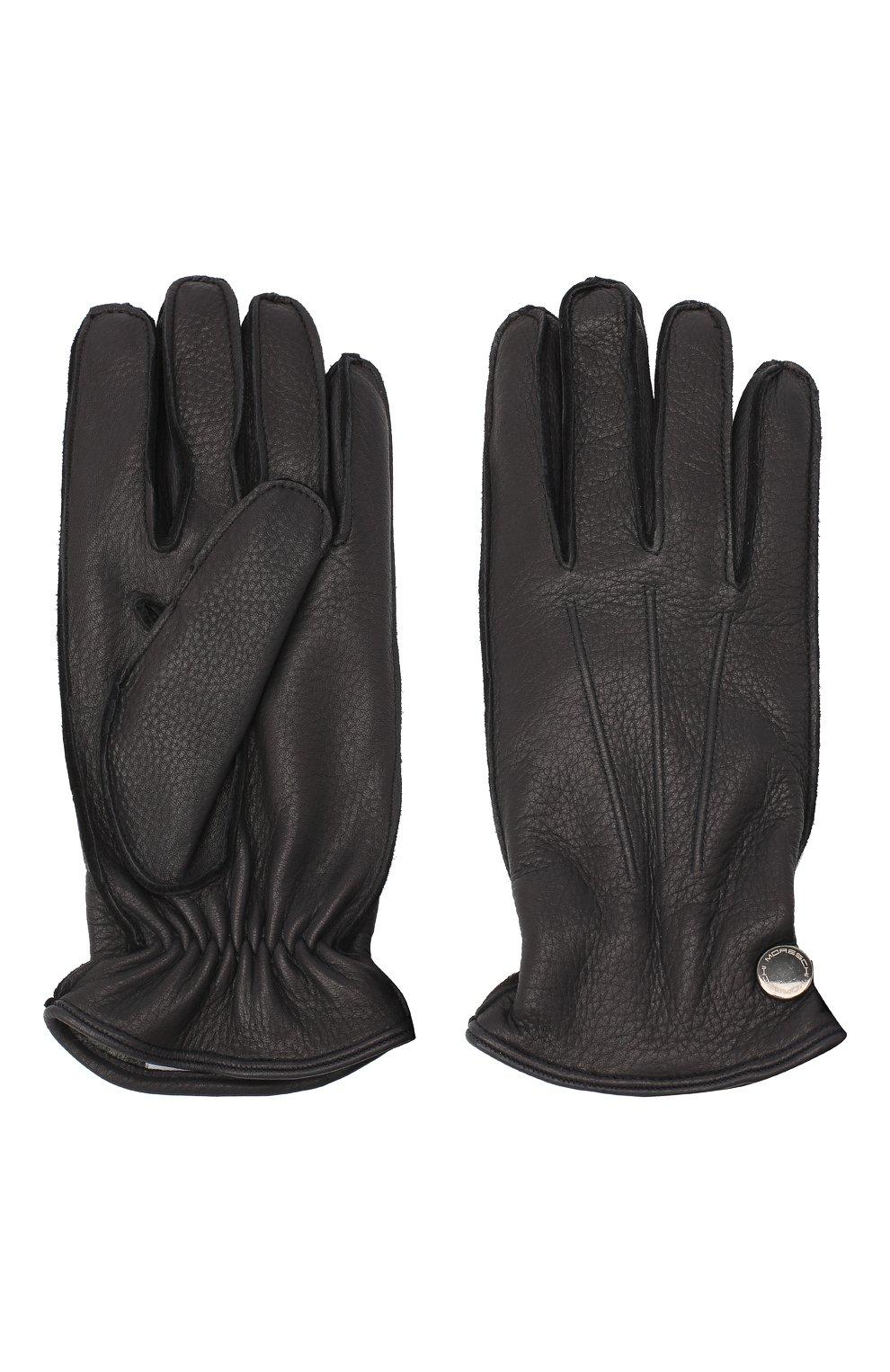 Мужские кожаные перчатки MORESCHI темно-синего цвета, арт. 062U/CERV0   Фото 2