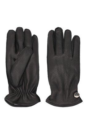 Мужские кожаные перчатки MORESCHI темно-синего цвета, арт. 062U/CERV0 | Фото 2