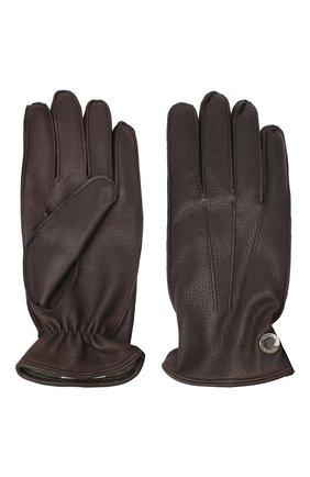 Мужские кожаные перчатки MORESCHI коричневого цвета, арт. 062U/CERV0 | Фото 2