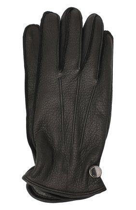 Мужские кожаные перчатки MORESCHI черного цвета, арт. 062U/CERV0 | Фото 1