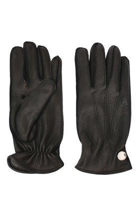 Мужские кожаные перчатки MORESCHI черного цвета, арт. 062U/CERV0 | Фото 2