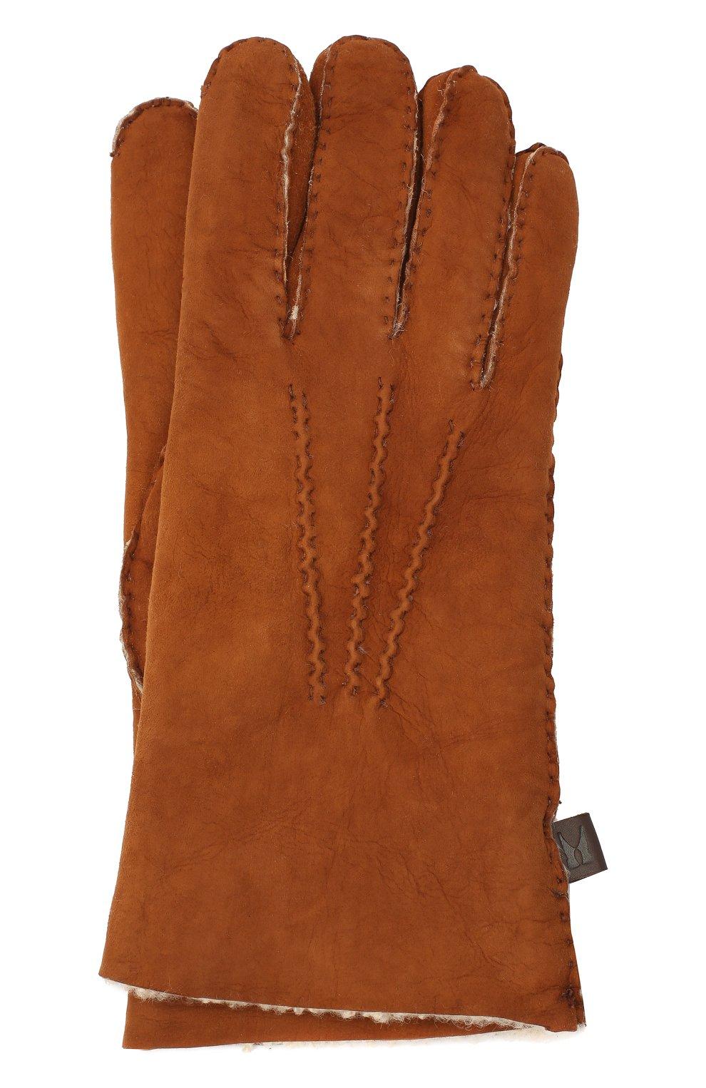 Мужские кожаные перчатки MORESCHI светло-коричневого цвета, арт. 059U/SHEARLING | Фото 1