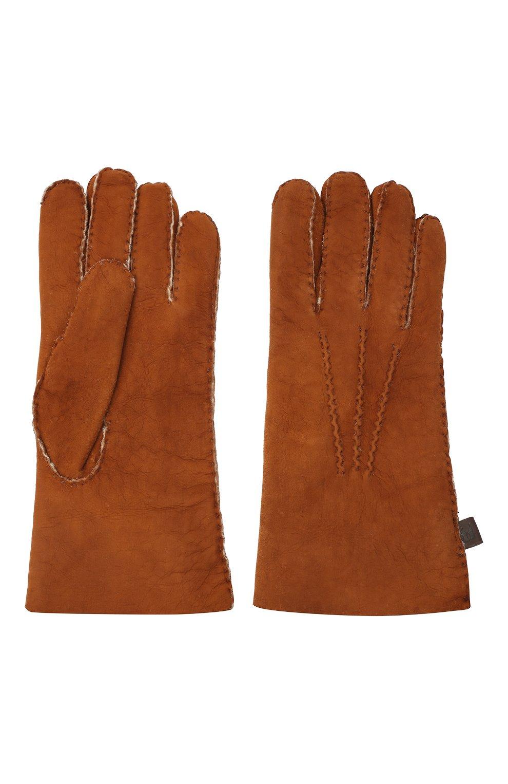 Мужские кожаные перчатки MORESCHI светло-коричневого цвета, арт. 059U/SHEARLING | Фото 2