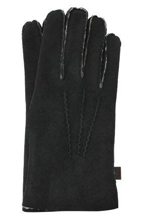 Мужские кожаные перчатки MORESCHI черного цвета, арт. 059U/SHEARLING | Фото 1