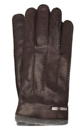 Мужские кожаные перчатки MORESCHI темно-коричневого цвета, арт. 055U/NAPPA | Фото 1