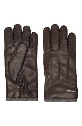 Мужские кожаные перчатки MORESCHI темно-коричневого цвета, арт. 055U/NAPPA | Фото 2