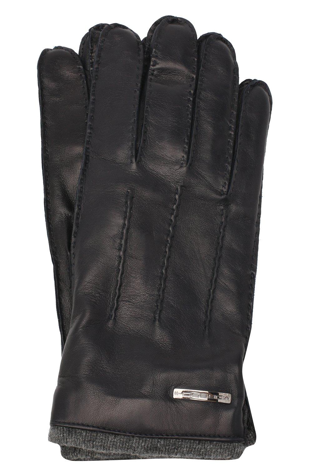 Мужские кожаные перчатки MORESCHI темно-синего цвета, арт. 055U/NAPPA   Фото 1